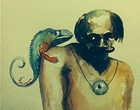 man with a Chameleon