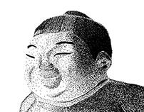 Product Illustration:  Sumo Sammy (Stippled)