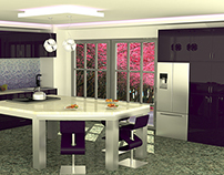 Violet open kitchen of a villa