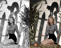 Retouched and Colorized Halloween Pin-up.