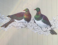 Garden murals: Kererū garden shed, Pīwakawa fence art