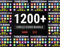 Circle Flat Icons Bundle | Colorful Icon Pack