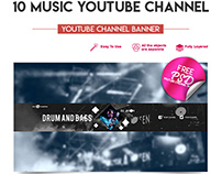 10 FREE MUSIC YOUTUBE CHANNEL BANNERS IN PSD