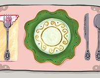 Mismatched plateware Illustration