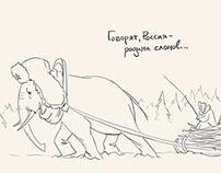 Sketch-illustrations for Diletant.ru Magazine
