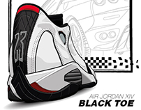 Air jordan xiv black toe