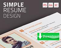 Simple resume design ( Free download )