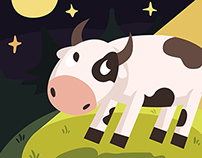 UFO kidnap cow and Aliens vector illustrations