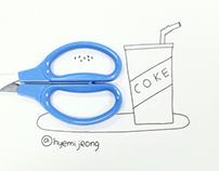With scissors