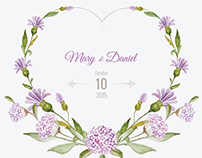 Wedding invitation watercolor. Floral wreaths