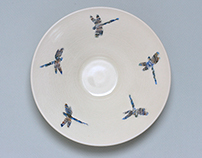 Porcelain Wall bowls: Dragon Flies
