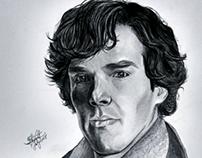 Pencil portrait of Sherlock Holmes.
