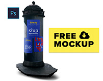 Free mock-up - advertising column with 3 posters B1/B2