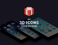 flat 3d icons