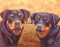 Rottweiler Dogs in Pastel Painting