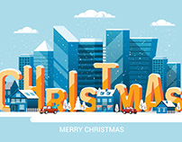 Merry Christmas and and Happy New Year greeting card