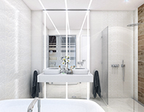 Modern white hotel bathroom