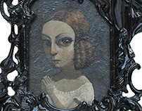 Elizabeth and Mary. Acrylics in antique frames