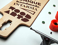 Unique marquetry longboard by Wood Arts Intarsia