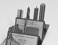 Laser Cut Dallas Skyline Invitation