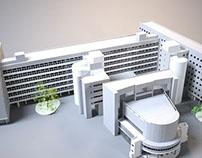 3D Визуализация проекта здания Центросоюза Ле Корбюзье