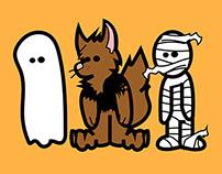 Halloween Friends illustration & Candy Bag Design