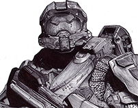 Master Chief Pen Drawing.