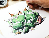 Botanical watercolor Agaves