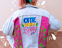 Custom lettering jacket with acrylics