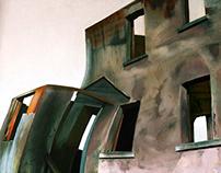 Surreal building. Alcatraz. Oil on canvas