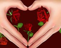 heart hand roses