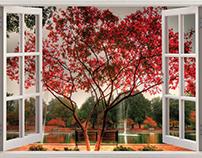 Dreamlike view | Open window # Wall Sticker