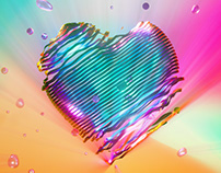 C4D Octane 2019 3d 梦幻 colorful 多彩 爱心 love heart 520