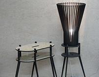 Светильник торшер и сервировочный столик