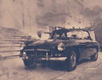 Dessin, MGB cabriolet 1969