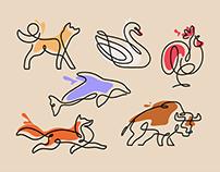 Line Art Animal Illustrations