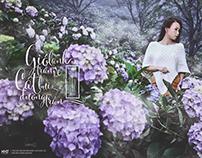 Lady in hydrangea garden