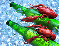 Beer in ice .Creative advertising with crayfish