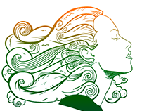 Woman with Wind Hair - IIlustration