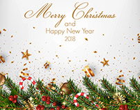 Stylish Modern Merry Christmas and Happy New Year cards