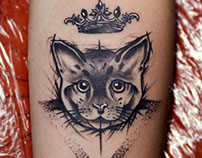Crown + Cat + ▼ Tattoo
