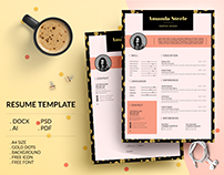 Gold dots Resume Template / CV Template