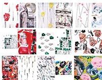 Silkscreen handmade textile collection 50's- 90's PL