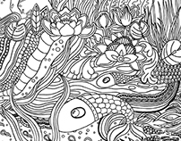 Pond Life: Doodlers Annonymous Colouring Book