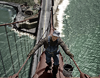 Colorized photo of painter scaling the Golden Gate 1947