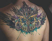 OWL ABSTRACT WATERCOLOR TATTOO