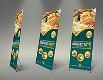 Breakfast Restaurant Rollup Signage Template
