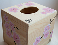 Tissue box with cherry blossoms