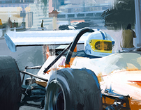 McLaren M14A digital painting from photograph