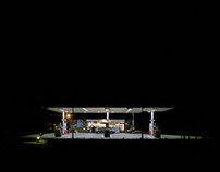 A Road Petrol Stations at Night